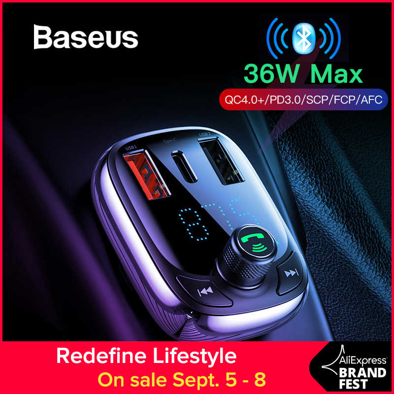 Baseus Car-Charger Mp3-Player Audio Phone-Fm-Transmitter Bluetooth Dual-Usb Fast
