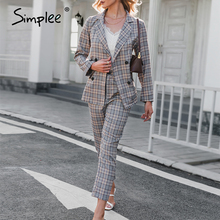 Simplee Elegant women plaid two-piece blazer suits Long-sleeved double-breasted coat pants sets Fashion Office lady blazer suit