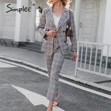Simplee elegante feminino xadrez de duas peças blazer ternos de manga comprida duplo breasted casaco calças define moda escritório senhora blazer terno