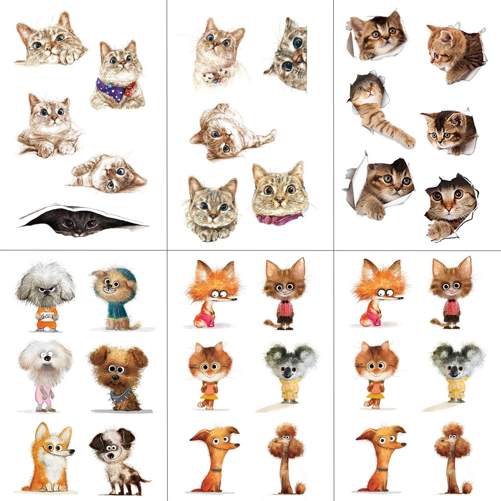 HXMAN Cat Temporary Tattoo Sticker Watercolor Animals Tattoos For Women Body Art Child Girls Hand Fake Tatoo 9.8X6cm A-279