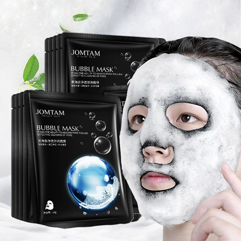 1pc Black Sea Salt Pure Moisturizing Bubble Facial Mask Deep Cleansing Oil Control Skin Rejuvenation Shrink Pore Foam Black Mask-0