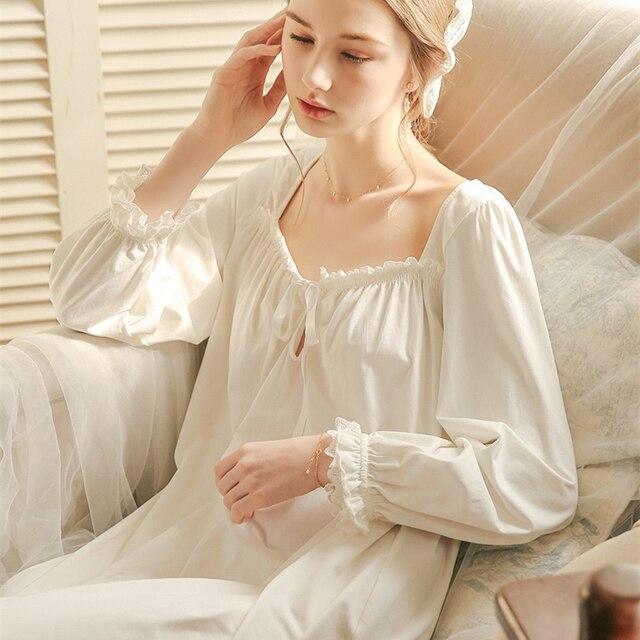 לבן כתונת לילה הלבשת ליידי אביב סתיו ארוך שרוול כותונת Loose נשים נסיכת כותנות לילה נוח