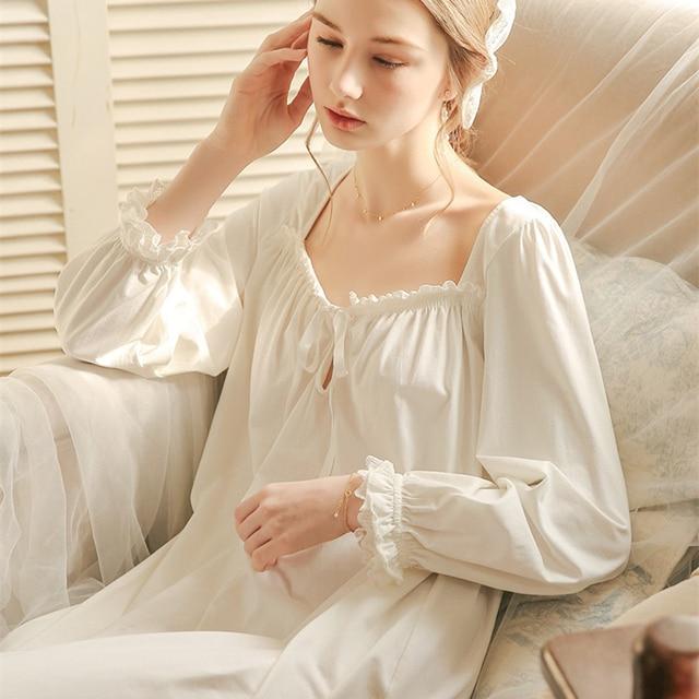 White Nightgown Sleepwear Lady Spring Autumn Long Sleeve Nightdress Loose Women Princess Nightgowns Comfortable