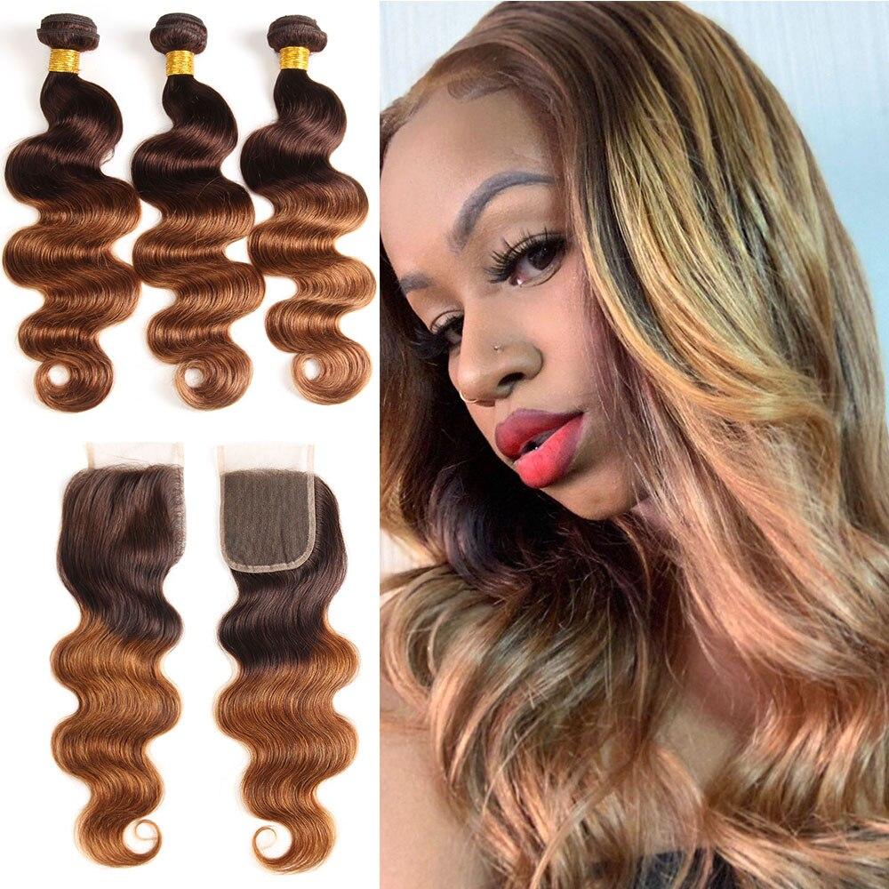 Индийские объемные волнистые волосы цветные пряди с закрытием пучки человеческих волос Ombre с закрытием светлые пряди с закрытием Non Remy
