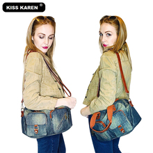 KISS KAREN Vintage Fashion Denim Totes Women Bag Jeans Ladies Handbags Women's Shoulder Bags Retro Top-handled Casual Cross-body Tote Bag kiss karen floral lace women messenger bag vintage fashion studded denim bag women s shoulder bags summer jeans crossbody bags