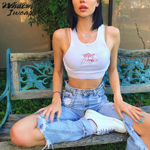 Vrouwen Tank Tops Casual Fitness Angel O-hals Mouwloos Korte Vrouwelijke Vest Croped Tops Wit Off Shoulder Streetwear(China)