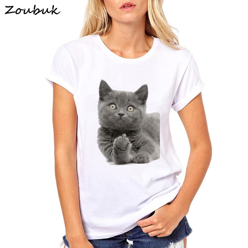 2020 Cute British shorthair cat T-Shirt Women Funny Middle Finger Design T Shirt Girl Friend Gift tshirt lively female top Tees image