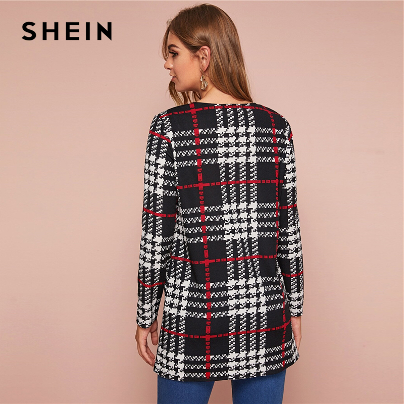 Шеин, черно-белое клетчатое пальто с принтом, с открытой передней частью, женское, весна-осень, с длинным рукавом, с круглым вырезом, верхняя ...