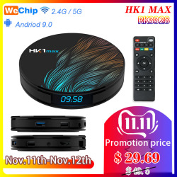 Wechip HK1MAX smart tv Box RK3328 Android 9.0 4GB + 64GB 2.4G/5G Wifi BT 4.0 4K 1080PHD HK1 max dekoder odtwarzacz kd