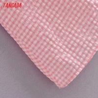 Tangada Women Pink Plaid Long Dress Strap Sleeveless 2021 Summer Fashion Lady Elegant Dresses Vestido 3H114 5
