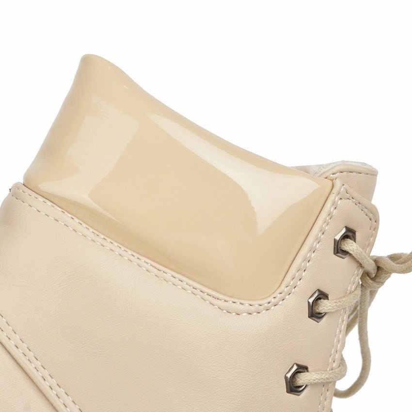ESVEVA 2020 PU Deri Yuvarlak Ayak Moda Platformu ayak bileği bağcığı Botları Sonbahar Kış Kare Topuk Casual Kadın Ayakkabı Boyutu 34- 43