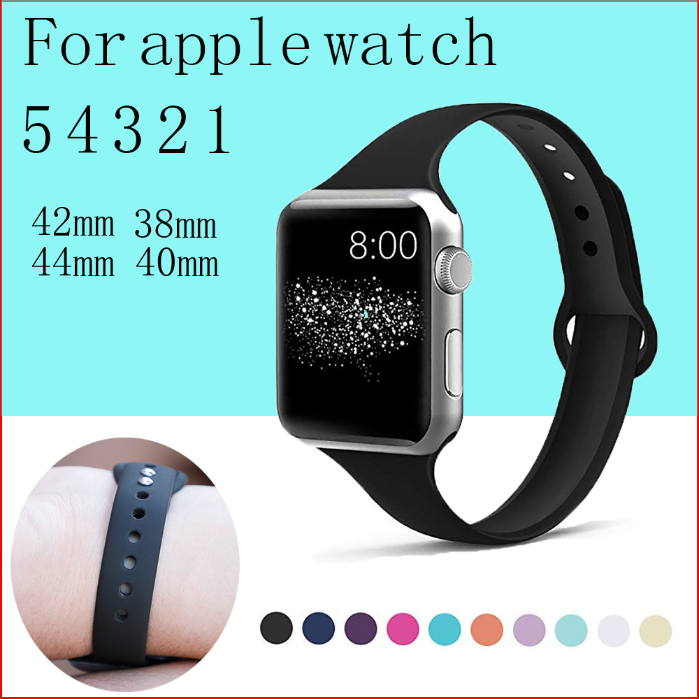 Slim Strap For Apple Watch Band Apple Watch 5 4 44mm 40mm Iwatch 4 3 2 1 42mm 38mm Slim Silicone Correa Bracelet Accessories