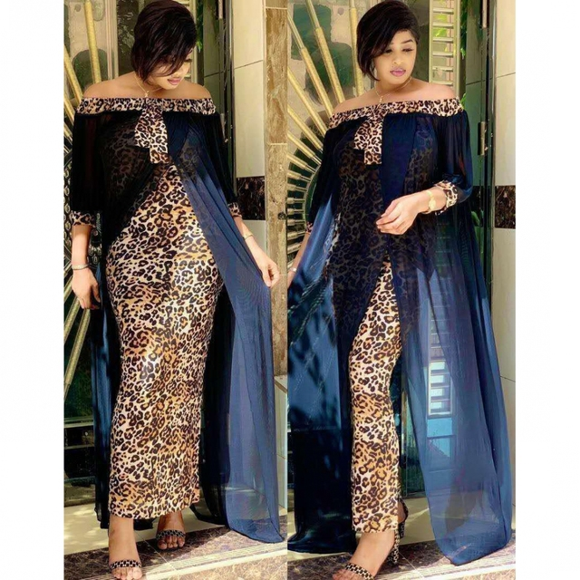 beautiful maxi dress, leopard print off shoulder backless dress 2