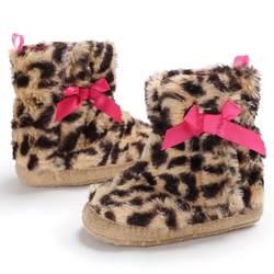 Для маленьких мальчиков обувь с леопардовым рисунком; милое платье с бантом, без шнуровки, зима теплая детская обувь, покрывала для девочек