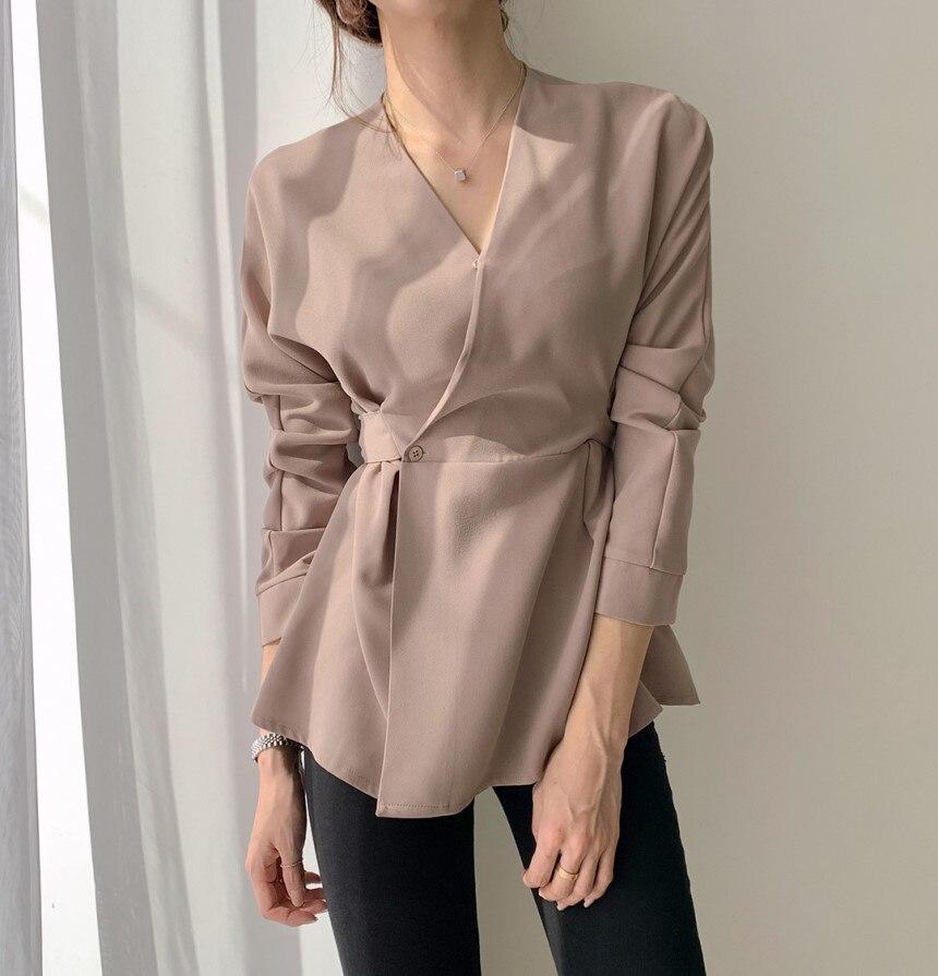 HziriP Vintage Langarm V-ausschnitt Schwarz Shirt Frauen 2020 Neue Büro Dame Arbeit Tragen Blusen Weibliche Lose Shirts Tops Blusas mujer
