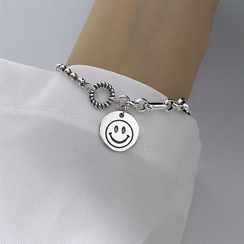 Personality S925 Sterling Silver Smile Bracelets for Women Girl Party Jewelry Korean Vintage Retro Simple Charms Bracelet Gift