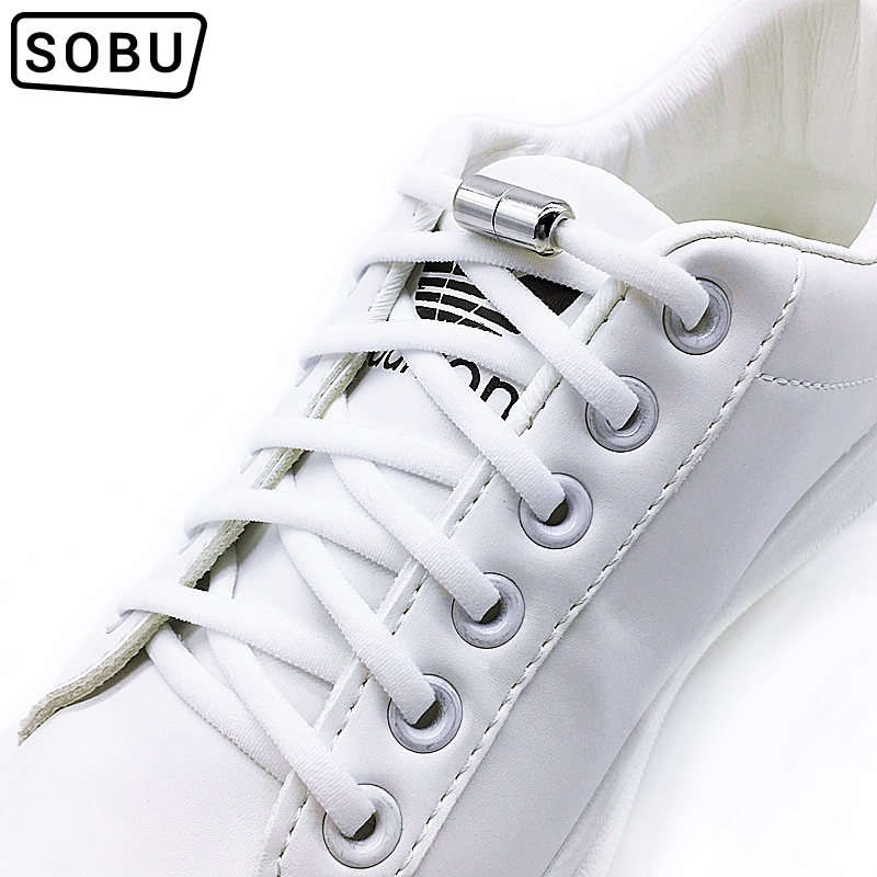 1 Pair No Tie Shoelaces Metal Lock Round Shoelaces For Sneakers Lazy Quick Shoelace Elastic Stretched Shoe Laces Strings