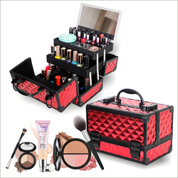 Professional cosmetic case hand-held mirror  two-layer aluminum suitcase insert storage nail box tattoo bag make up case