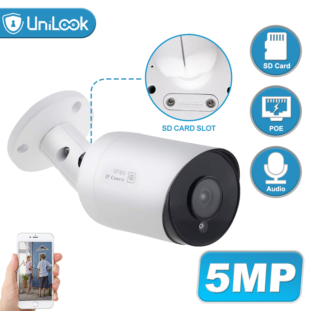 UniLook 5MP Bullet POE IP Camera Built In Microphone SD Card Slot CCTV Security CCTV Camera IP66 Night Vision H.265 ONVIF