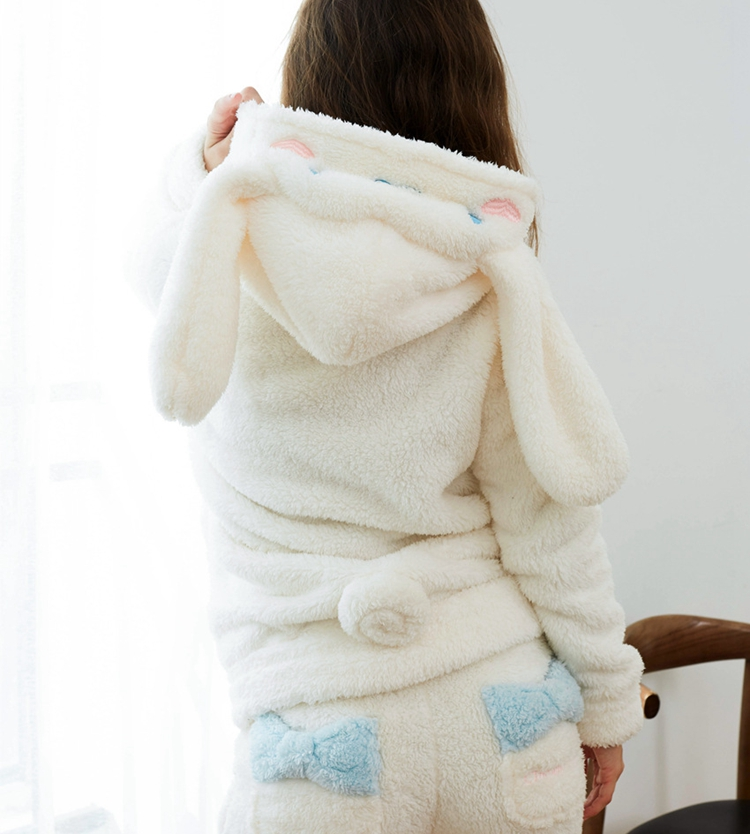 1set Cosplay Cinnamoroll Sweatshirt Two Piece Pajama Coral Fleece Thick Warm Winter Women Cartoon Kawaii White Hoodies Trousers 6