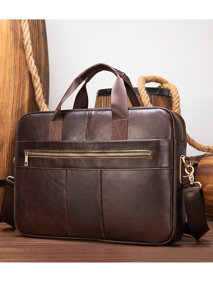 WESTAL Men's Bag Briefcases Office-Bags Genuine-Leather Totes for 7352