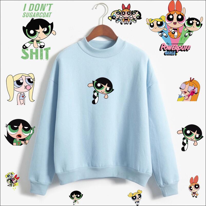 Kawaii Powerpuff Cute Girls Sweatshirt Fashion Women's Clothing Sweatshirt Cartoon Print Hoody Girls Autumn Fashion Top