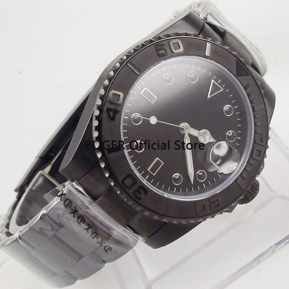 Klassische BLIGER 40mm Schwarz Sterile Zifferblatt Edelstahl PVD Beschichtet Fall Sapphire Leucht Miyota Automatische Bewegung herren Uhr-in Mechanische Uhren aus Uhren bei  Gruppe 1