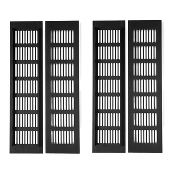 Pack of 4 Aluminum Alloy Breathable Mesh Wide Rectangle Air Vent Ventilator Grille Cover Closet Shoe Cabinet Conditioner 100MM