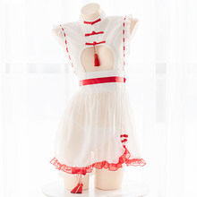 Kawaii Lolita Dress Summer Sexy Halloween Costume for Adult Women Anime Cosplay Lingerie White Perspective Sleepwear Maid Outfit(China)