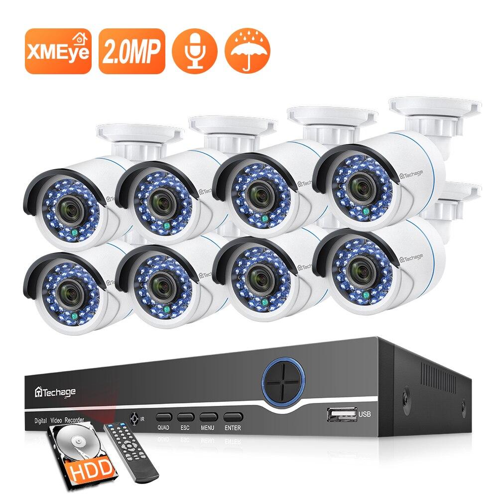 H.265 8CH 1080P zestaw monitoringu NVR POE kamera ochrony zestaw do organizacji kamera IP ir-cut zewnętrzny wodoodporny zestaw nadzoru wideo CCTV