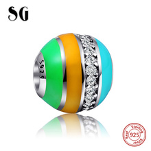 SG 925 Sterling Silver multicolor beads high Polishing charm with clear CZ Fit original pandora bracelet diy jewelry women gift