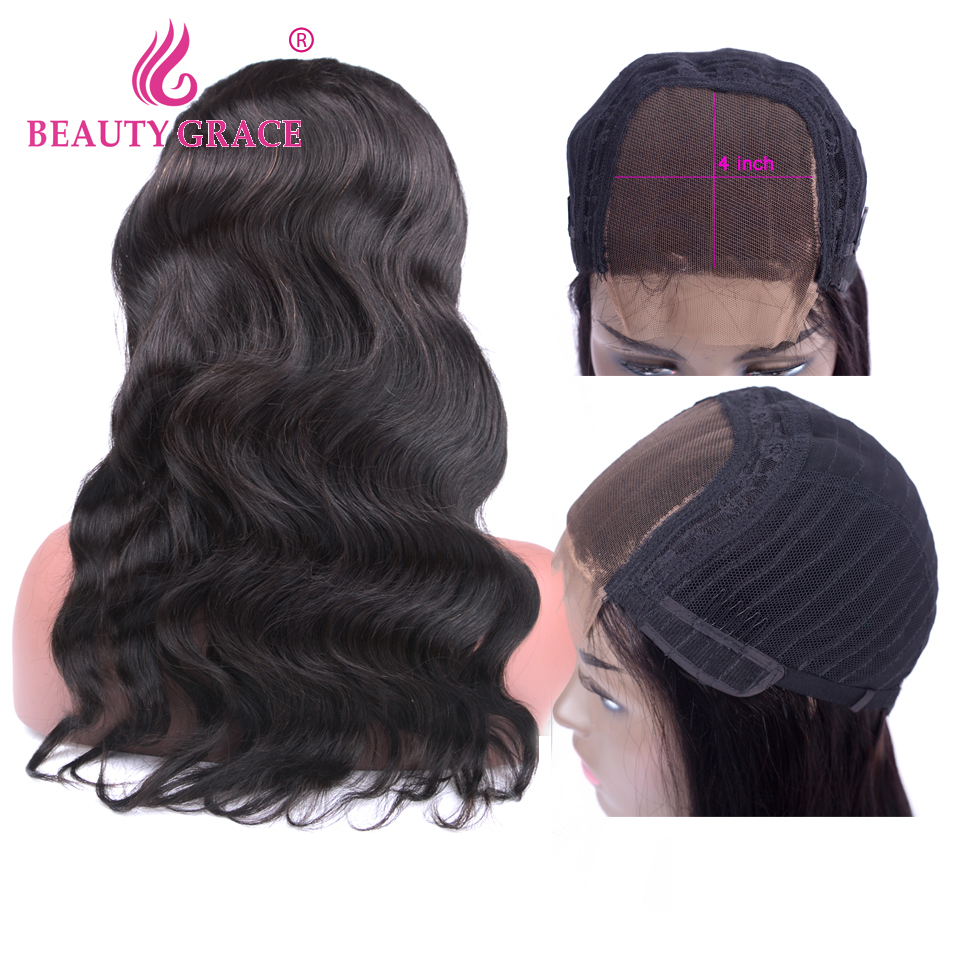 Beauty Grace 4x4 Closure Wig Lace Human Hair Wigs Non Remy Brazilian Wig Body Wave Wigs For Black Women With Baby Hair