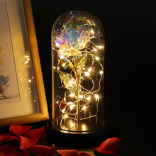LED Enchanted Galaxy Rose Beauty And The Beast Red Rose Flower In Glass Dome Creative Valentine's Day Gift Multi Color and Bases