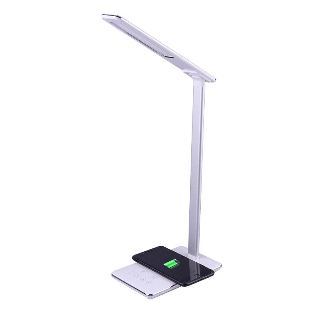 СВЕТОДИОДНЫЙ беспроводной заряжающаяся настольная лампа для Iphone 11 Pro samsung Xiaomi huawei многофункциональная настольная лампа автоматический таймер свет для чтения - Цвет: White