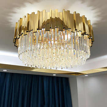 Phube Lighting Gold Crystal Ceiling Light Luxury Modern Bedroom LED Lustres De Cristal Home Indoor Lighting Fixtures - DISCOUNT ITEM  15 OFF Lights & Lighting