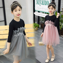 Spring Autumn 2019 Baby Girls Dresses Cotton Long Sleeve Princess Dress Floral Bow Kids Dresses for Girls Clothing girls dress spring 2018 children s floral print long sleeve princess yarn dresses autumn teenager kids clothing for 5 15yrs