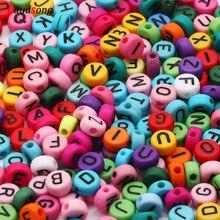 Commercio all'ingrosso Lettera di Colore Misto Perle Acrilico Rotondo Piatto Alfabeto Branelli Allentati Per La Produzione di Gioielli Fatti A Mano Fai Da Te Collana Del Braccialetto