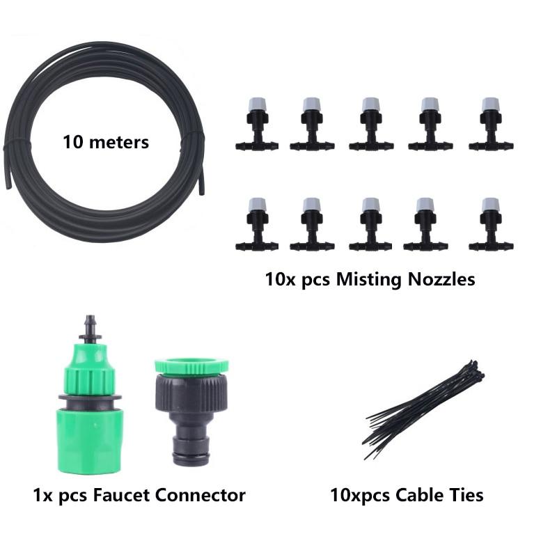 Nebel Düsen bewässerung system Tragbare Beschlagen Automatische Bewässerung 10m Garten schlauch Spray kopf mit 4/7mm t und stecker