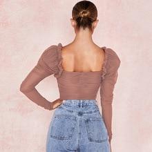 Ellolace Mesh Square Collar Bodysuit Long Sleeve Women Bodys One Piece Fashion Ladies Fitness Cami Sexy Bodysuit Backless Romper