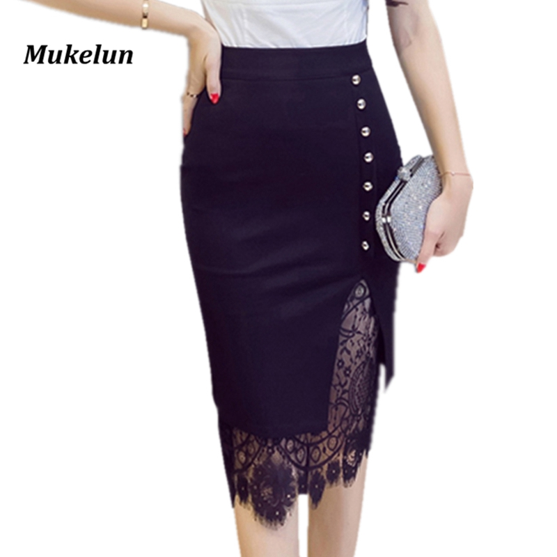 Women's Skirt High Waist Pencil Skirt Summer 2019 Fashion Women Knee Length Lace Patchwork Lady Formal Work Skirts Plus Size