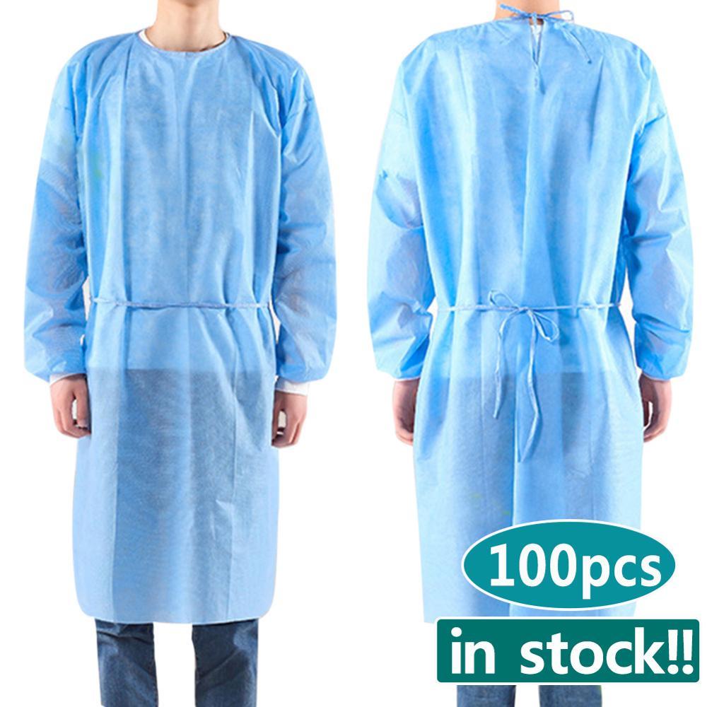 100pcs/set Disposable Isolation Clothes Non-woven Security Protection Suit Disposable Bandage Coveralls Labour Suit In Stock!!