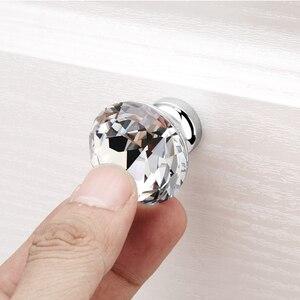 Image 1 - ダイヤモンドクリアクリスタルガラス引き出しキャビネット家具アクセサリーハンドルつまみねじ世界