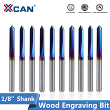 XCAN 10Pcs 3.175Mm Shank Nano BlueเคลือบCNC Vรูปร่างแกะสลัก 2 ขลุ่ยตรงVบิตสำหรับไม้เนื้อแข็ง 20 30 45 60 90 องศา