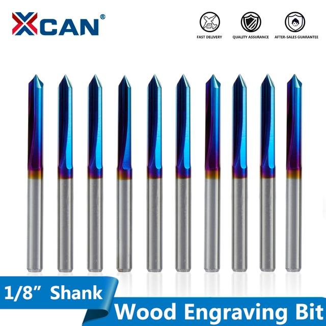 Xcan 10 個 3.175 ミリメートルシャンクナノブルーコーティングされたcncのvシェイプ彫刻ビット 2 フルートストレートvビットのための広葉樹 20 30 45 60 90 度