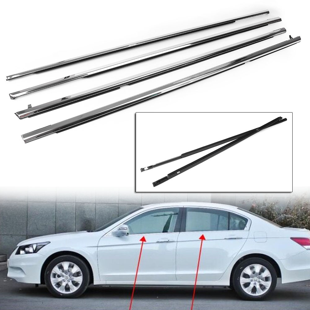 Chrome Outside Window Moulding Weatherstrip Weather Strip Seal Belt For Honda Accord 2003 2004 2005 2006
