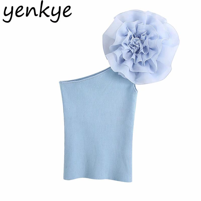 Floral Appliques Asymmetrical Crop Top Women Elastic Knit Tops Romantic Femininas Blusas Mujer Summer Sexy Short Blouse BBWM2320