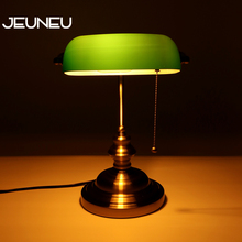 Classical Vintage Simple Banker Table Lamp E27 with Switch Green Glass Lampshade Desk Lights for Bedroom Study Home Reading