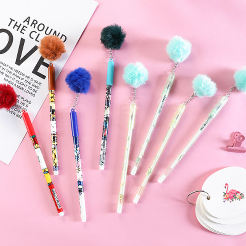 Plush Gel Pens Student Stationery 0.5mm New Cute Pen Kawaii Stationery Novel Gel Pen Cartoon Cute Pens Kawaii School Supplies