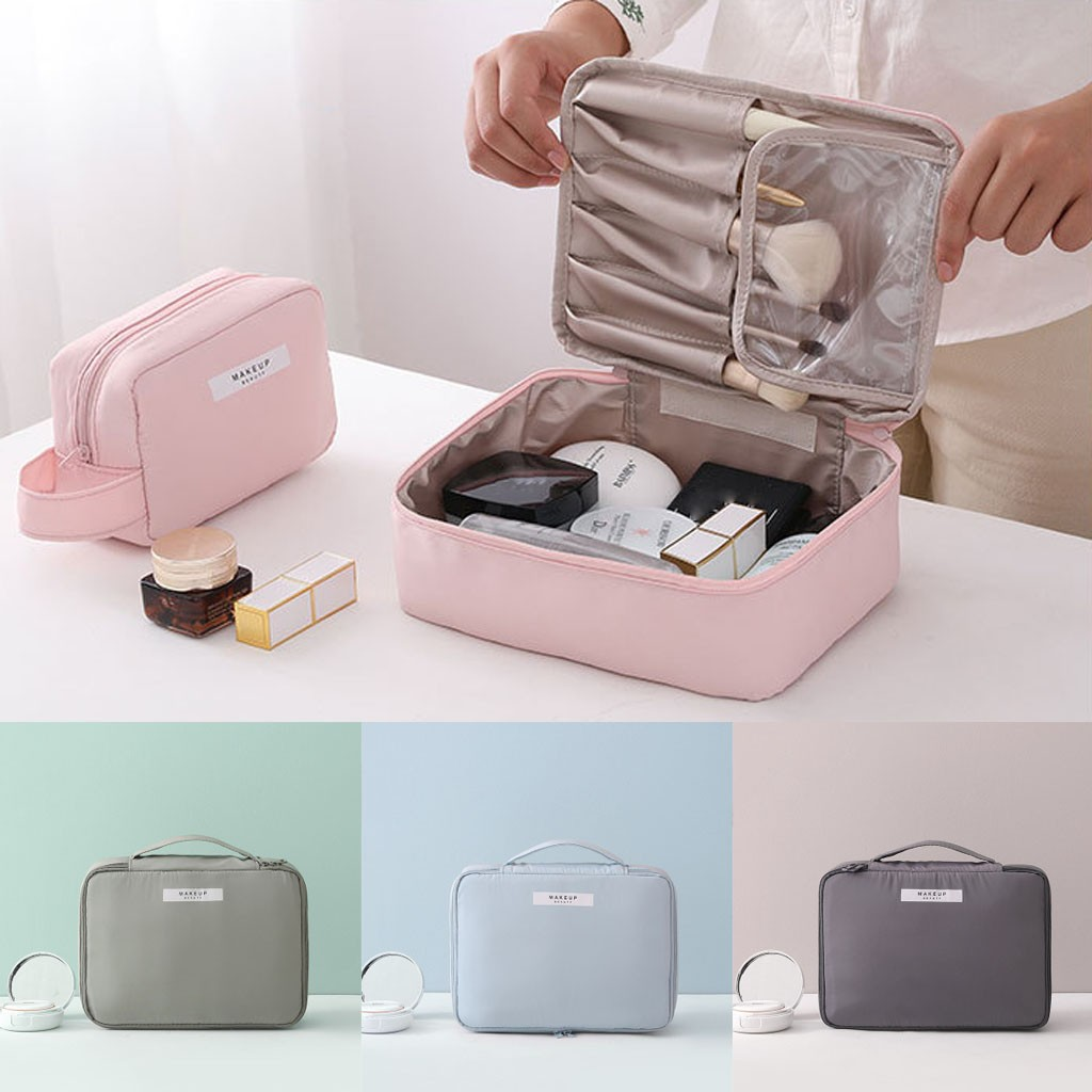Cosmetic Bag For Women Ladies Solid Color Makeup Bag Square Portable Travel Storage Bags Travel Organizer Toiletry Bags#PG