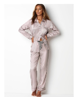 HaloSweet Slik Sleepwear Women Vs Long Sleeves With Pants Two Pieces Home Wear Suit Home Clothes For Women Pajamas Female Satin